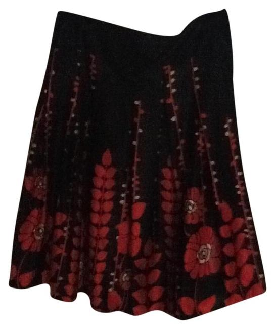 Mossimo Supply Co. Floral Silk Pleated Skirt Black / Red