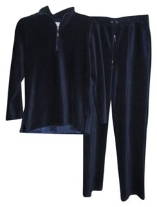 Liz Claiborne Liz & Co. Small Petites, Liz Claiborne, Liz & Co, Navy Blue, Velour, Lounge, Track, Sweatsuit, Pullover, Top, 1/2 Zip, Pants, Drawstring, Ribbed