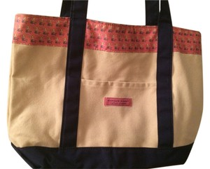 Vineyard Vines Tote in Tan - pink trim with mermaids