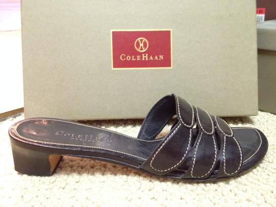 Cole Haan Leather Top Stitching Black Sandals