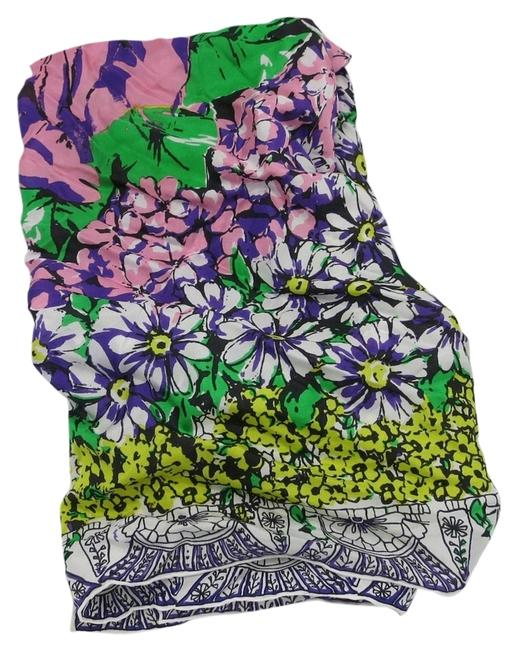 Item - Multicolor Pink Large Rose Purple Green Scarf/Wrap