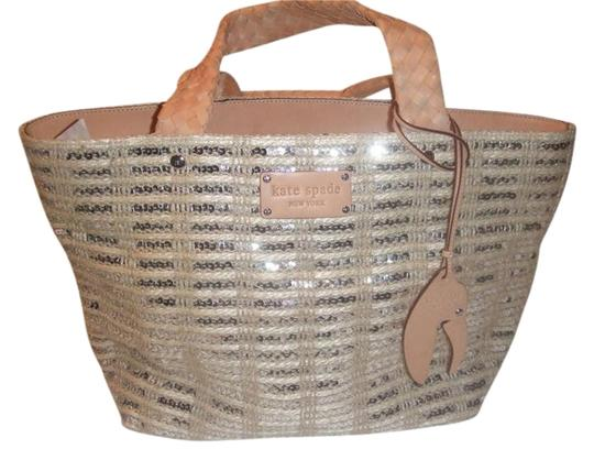 Preload https://img-static.tradesy.com/item/969244/kate-spade-beige-with-sequin-and-leather-detail-jute-silver-tote-0-1-540-540.jpg