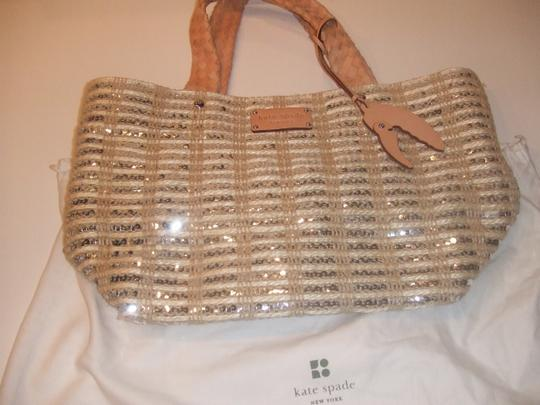 Kate Spade Tote in Beige with sequin and leather detail