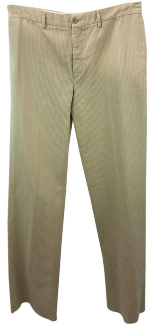 Item - Beige Stripes Print Cotton 42 **waist 31 Inches**italy Pants Size 8 (M, 29, 30)