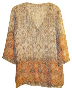 Chico's Animal Print Leopard Sheer Sequin Cover Up Tunic