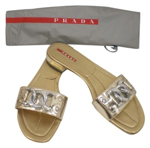 Prada Flats Summer Silver Gold Sandals