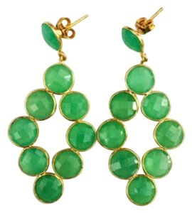 Independent Clothing Co. Chrysoprase green gemstone drop earrings