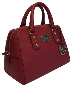 Michael Kors Saffiano Leather Satchel in Red