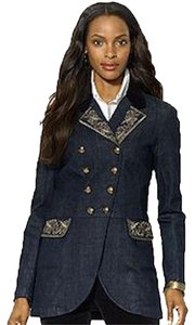 Ralph Lauren Embellished Denim Velveteen Metallic Embroidery Rinse Womens Jean Jacket