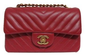Chanel Rare Find Gold Hardware Chevron Quilt Cross Body Bag