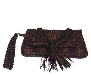 Isabella Fiore Studded Fringe Leather Brown Clutch
