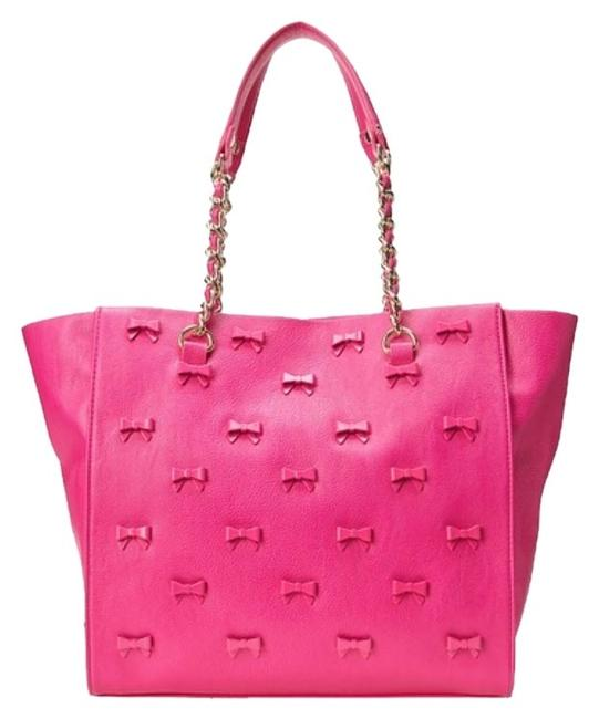 Item - Little Bow Chic Tote Fuchsia Pink Leather Shoulder Bag
