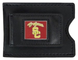 NCAA USC NCAA USC Trojans Men's Leather Money Clip and Card Case, 3.5 x 2.75