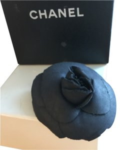 Chanel Chanel Black Camellia Flower Fabric Brooxh Pin with BOX