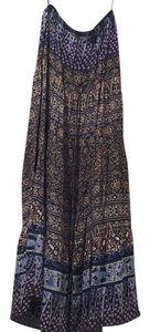 Aqua Maxi Skirt Blue, Brown, White & Purple