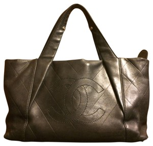 Chanel Leather All Day Long Satchel in Black