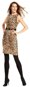 Calvin Klein Belted Exotic Size 4 Sheath Animal Print Dress