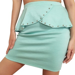 Renee C. Studded Studs Peplum Pencil Cream Retro Skirt Pastel Blue