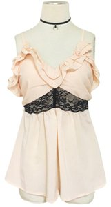TCEC Lace Ruffle Low Cut Flowy Top Peach