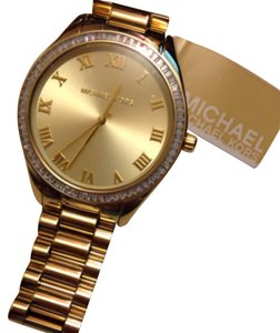 Michael Kors Gold Stainless Steel Chronograph Watch Crystal Baguette Watch