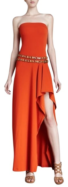 Preload https://item1.tradesy.com/images/michael-kors-burnt-orange-brown-voyager-belted-cover-high-low-night-out-dress-size-12-l-969770-0-0.jpg?width=400&height=650