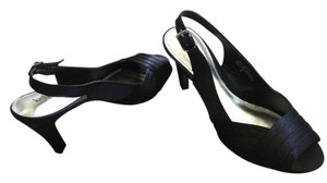 Kelly & Katie Strappy Elegant Satin Black Pumps
