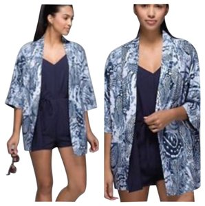 Lululemon New With Tags Lululemon Wanderlust Kimono Butterfly Size Small Reversible Naval Blue