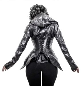 Ritual Leather Goth Glam Hooded Leather Skingraft Goat Leather Agent Provacateur Punk Dominatrix Leather Jacket
