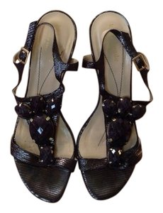 Kate Spade Embossed Leather Stone Embellishments Open Gray Sandals