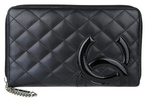 Chanel Chanel Quilted Black Leather Patent CC Cambon Zip Zippy Wallet Organizer