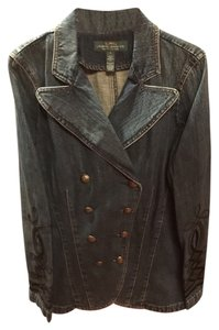 Ralph Lauren Blue Black Velvet Denim Womens Jean Jacket