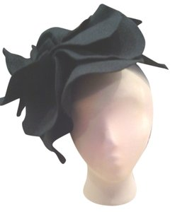 Oversized black felt fascinator headband hat