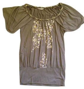 Charlotte Russe Gold Butterfly Top Taupe