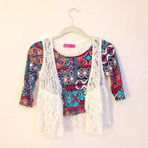 lovely Rachel Lace Boho Bohemian Cardigan Sheer Retro Vest