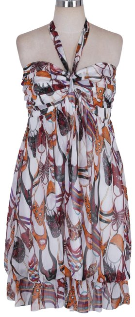 Orange Sweet Printed Design and Pleated Bust Chiffon Sundress Halter Top Size 4 (S) Orange Sweet Printed Design and Pleated Bust Chiffon Sundress Halter Top Size 4 (S) Image 1