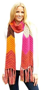 Other Retro Style Chunky Knit Color Blocked Winter Scarf