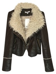 Vegan Leather/Fur Bomber Dark brown / cream faux fur Leather Jacket
