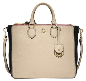 Tory Burch Satchel in Beige Black Cabernet Red