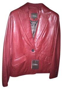 Cole Haan Leather New With Tags Oxblood Red Blazer