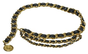 Chanel Chanel Black and Gold Leather Chain Link Belt