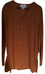 Silk Boutique Button Down Shirt Rust