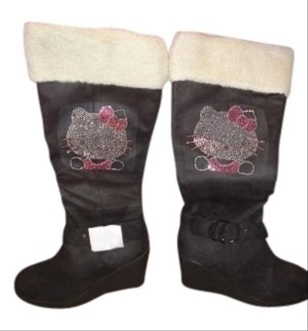 Item - Black Hello Kitty Wedge Boots/Booties Size US 6.5 Regular (M, B)