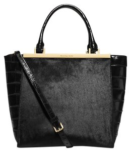 Michael Kors Haircalf Leather Tote in Black