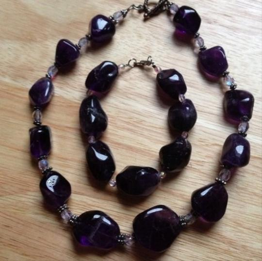 CScreations NEW Genuine Amethyst Necklace & Bracelet Set With (Extender On Necklace) Extra Large Sized Beads