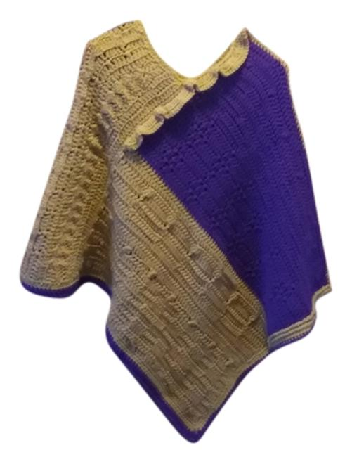 Item - Purple & Tan New One Of A Kind Poncho/Cape Size OS (one size)