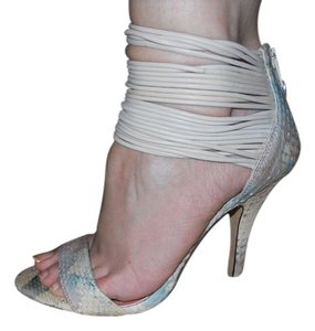 Vince Camuto Leather Snakeskin Pbo tan, turquoise & brown Sandals