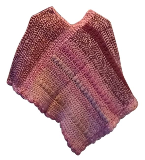 Item - Pink Burgandy & Mauve New One Of A Kind Poncho/Cape Size OS (one size)