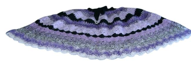 Item - Purple & White New One Of A Kind Ladies Poncho/Cape Size OS (one size)