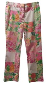 Lilly Pulitzer Summer Stained Glass Patchwork Straight Pants Pink, green, orange and white