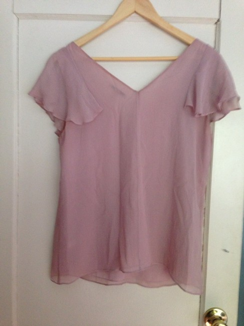 Banana Republic Silk Ruffle Crepe Top Pink